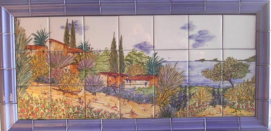poterie c ramique art de la table ma th panneau d coratif sur carreaux de gr s village de. Black Bedroom Furniture Sets. Home Design Ideas